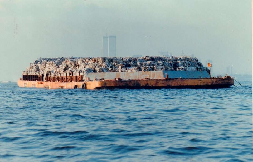 The garbage barge floats in New York Harbor