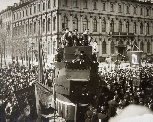 Sailors demonstrate in Petrograd during the Russian Revolution.