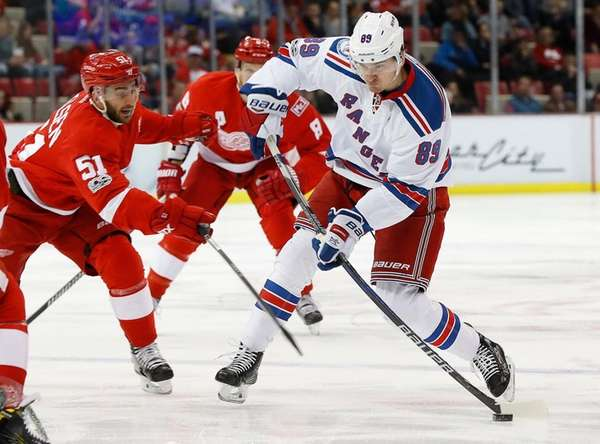 Pavel Buchnevich shoots against the Red Wings in