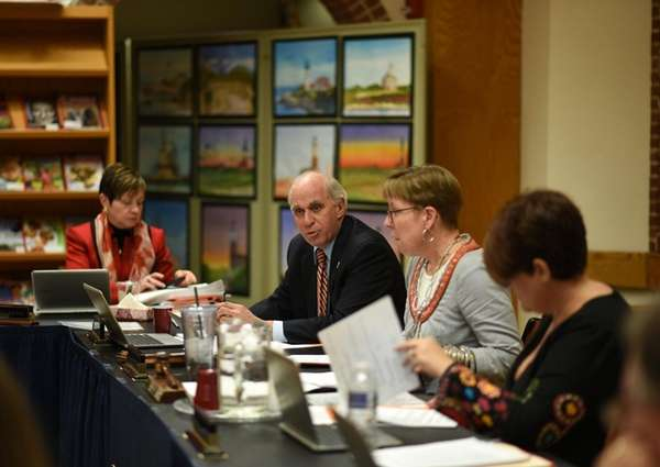 Manhasset Superintendent Charles Cardillo speaks with school board