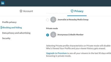 To browse anonymously on Linked In, select Private