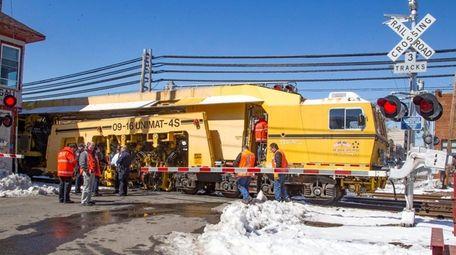 LIRR crews investigate the site where two work
