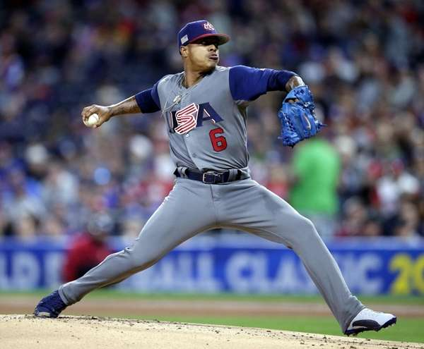United States' pitcher Marcus Stroman delivers in the