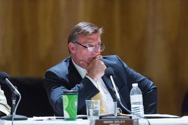 Southampton Mayor Mark Epley attends a public hearing