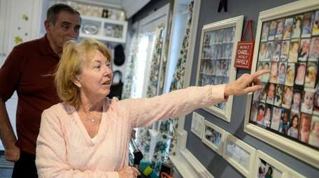 Alicia and Jim Bulger, of Levittown, point to