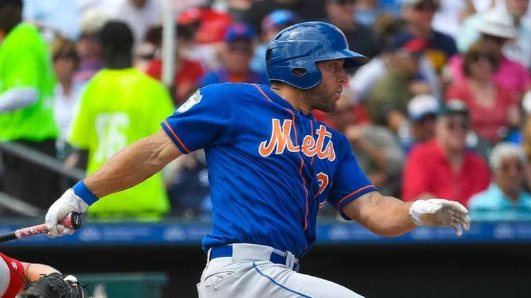 Tim Tebow, who singled in three at-bats, grounds
