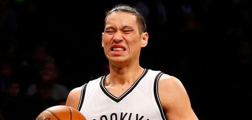 Jeremy Lin #7 of the Brooklyn Nets reacts