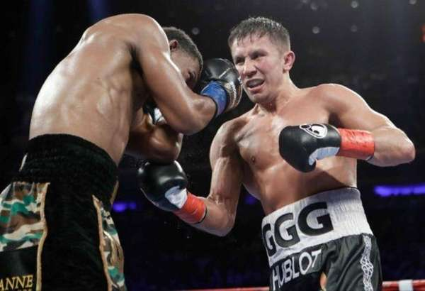 Middleweight champion Gennady Golovkin and his trainer Abel