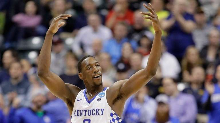 Edrice Adebayo #3 of the Kentucky Wildcats reacts