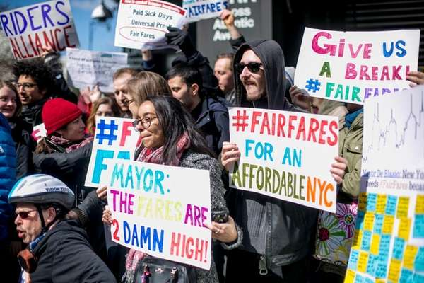 People rally outside the Barclays Center in Brooklyn,