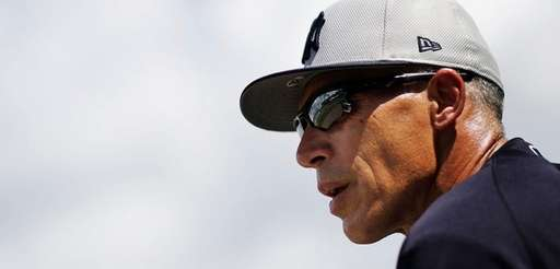 New York Yankees manager Joe Girardi watches from