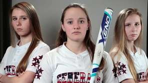 From left, MacArthur's Jess Budrewicz, pitcher; Shannon Myles,