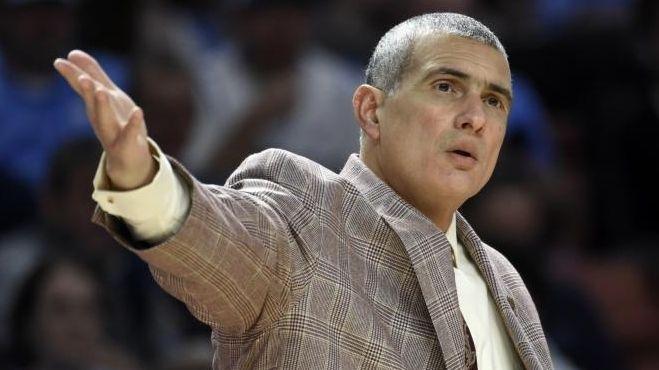 South Carolina head coach Frank Martin argues a