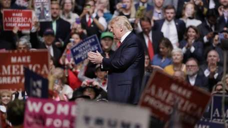 President Donald Trump speaks at a rally in