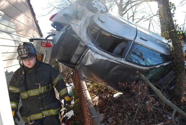 New York State police investigate a crash near