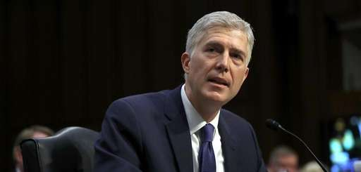 Judge Neil Gorsuch speaks during the first day