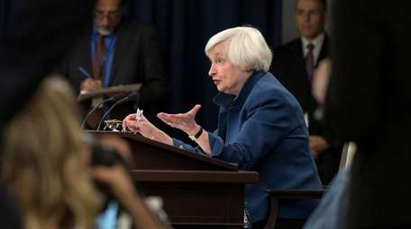 Federal Reserve Chair Janet Yellen at a news
