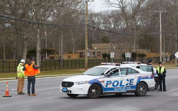 Suffolk County police blocked Route 112 at Granny