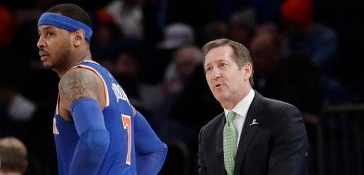 New York Knicks coach Jeff Hornacek, right, talks