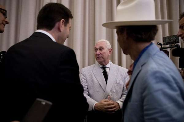 Roger Stone, an adviser to Donald Trump, center,