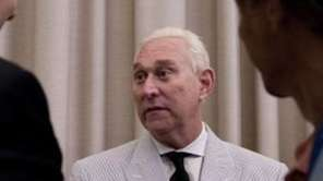 Roger Stone, an adviser to Donald Trump, center,