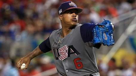 Marcus Stroman of the United States pitches during