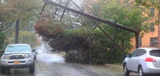 Downed trees and utility poles block Horton Highway