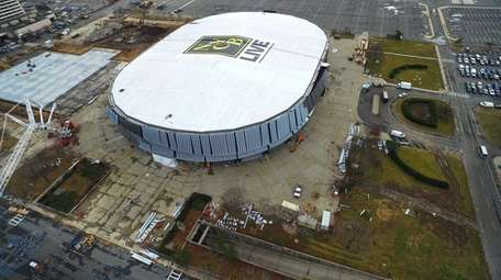 An aerial view of the exterior renovation to