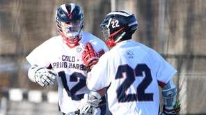 Cold Spring Harbor midfielder Taylor Strough, left, is
