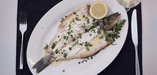The Lavraki, or whole branzino, is a specialty