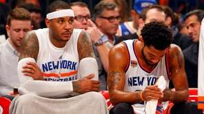 Carmelo Anthony and Derrick Rose of the New York Knicks