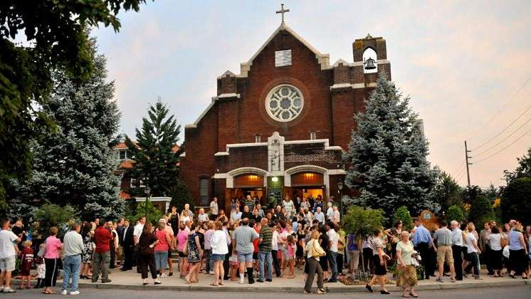 Hundreds of mourners gathered at Our Lady of