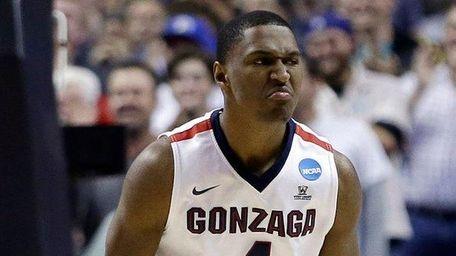Gonzaga guard Jordan Mathews (4) celebrates after scoring