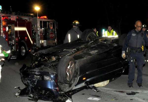 Emergency personnel respond toa crash on Thursday, March