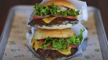 A stack of two Shackburgers at Shake Shack