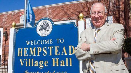 Hempstead Mayor-elect Don Ryan celebrates his victory outside