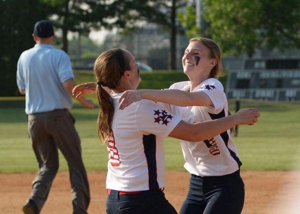 MacArthur's Shannon Myles (left) and pitcher Jess Budrewicz