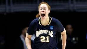 Quinnipiac forward Jen Fay reacts after a three-pointer