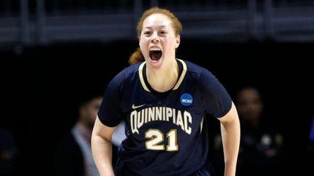 Quinnipiac forward Jen Fay reacts after a three-pointer