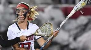 Stony Brook attacker Kylie Ohlmiller, #17, is pressured