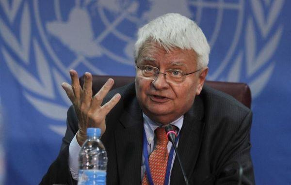 U.N. peacekeeping chief Herve Ladsous speaks to the