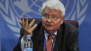 U.N. peacekeeping chief Herve Ladsous speaks to the