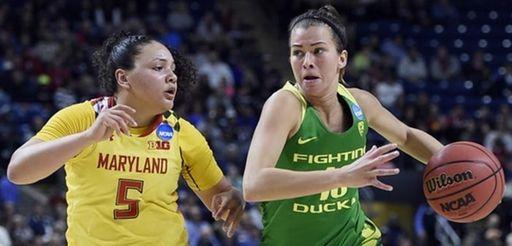Oregon's Lexi Bando, right, dribbles as Maryland's Destiny
