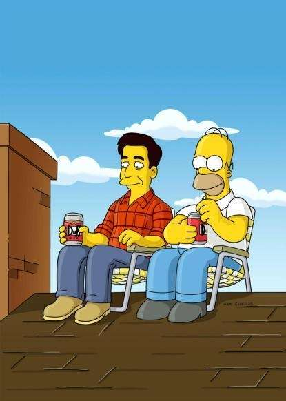 Ray Magini (guest voice Ray Romano) and Homer