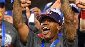 U.S. pitcher Marcus Stroman celebrates with the MVP