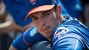 New York Mets pitcher Steven Matz looks on