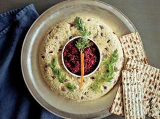 Salmon Gefilte Fish Mold with Horseradish and Beet