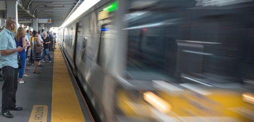 A westbound Long Island Rail Road train enters