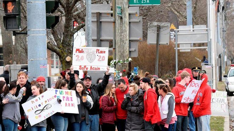 A vigil held near the scene on Sunday