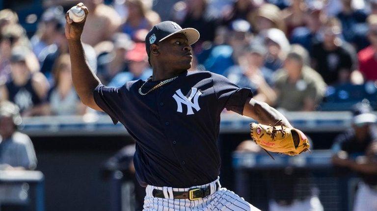 New York Yankees pitcher Luis Severino throws during